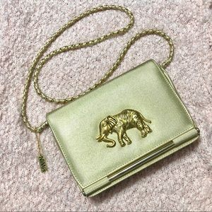 Vintage | Metallic Gold Elephant Shoulder Bag